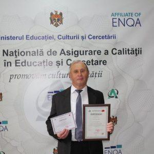 Agenţia Naţională de Asigurare a Calităţii în Educație și Cercetare a eliberat: